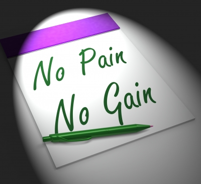 Piece of paper reading No Pain No Gain