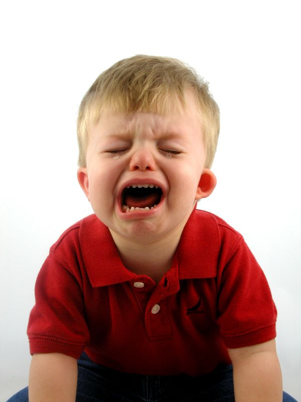 Two year old boy crying