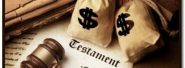 last will and testament with money bags