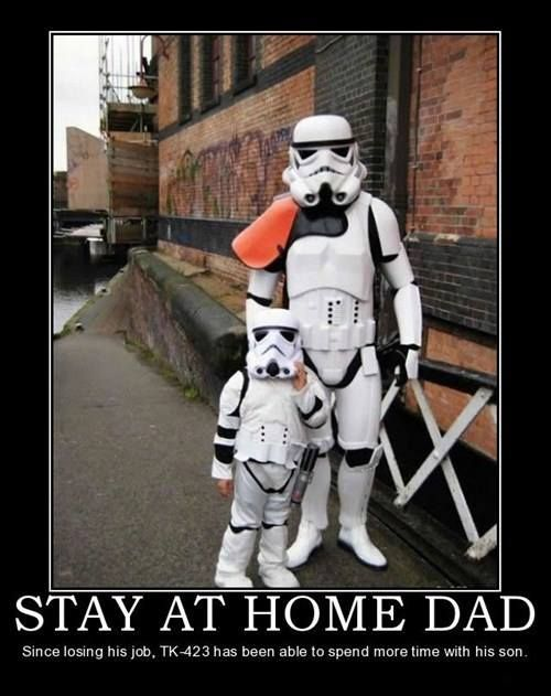 star wars storm trooper standing with son