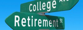 roadsigns which read college or retirement