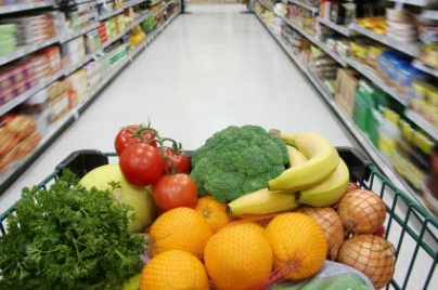 grocery cart with healthy food